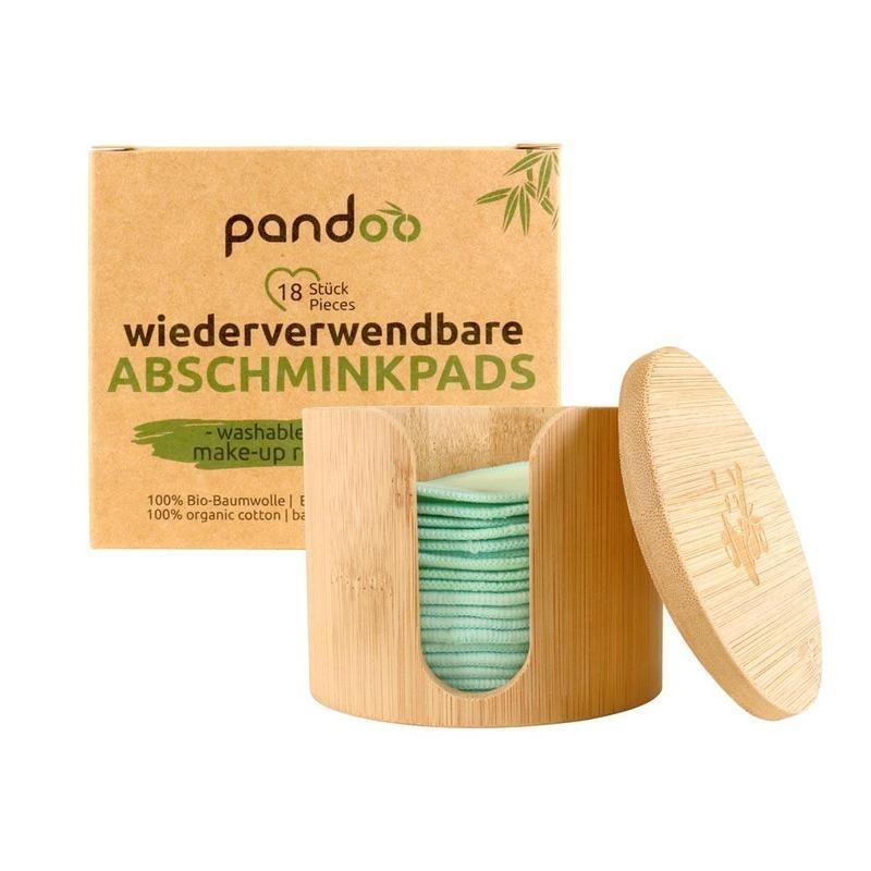 Set 18 discos desmaquillantes reutilizables con dispensador de madera Pandoo - 1
